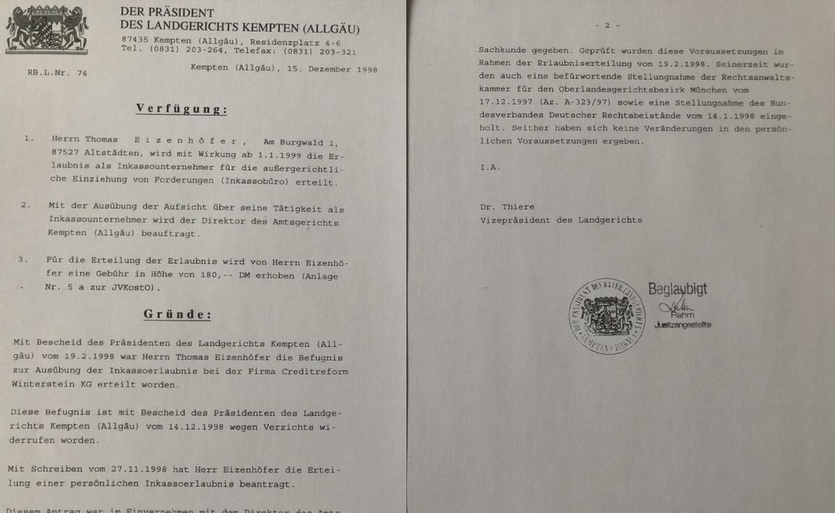 Zulassung als Inkasso Unternehmen